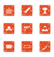 threat icons set grunge style vector image vector image