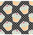 Tile pattern with cupcakes and polka dots on black vector image vector image