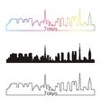 Tokyo skyline linear style with rainbow vector image vector image