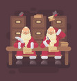 two santa clauses writing letters to kids santa vector image