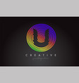 u letter logo design with colorful rainbow vector image vector image