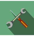 Wrench and screwdriver flat icon with shadow vector image