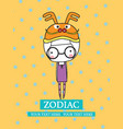 cute set zodiac - symbols of chinese hor vector image