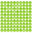 100 water icons set green circle vector image