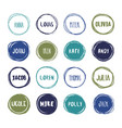 16 hand drawn scribble colorful circles with names vector image