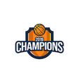 basketball club emblem badge logo design vector image vector image