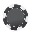 black and white casino poker chip isolated on vector image