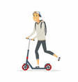 boy riding a kick scooter - cartoon people vector image