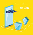 buy safely online with smartphone vector image