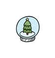 cartoon globe ball doodle icon vector image