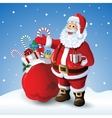 cartoon santa claus with a bag toys in front vector image
