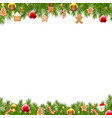 christmas border fir tree vector image vector image