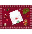 christmas knitted background with fir tree and vector image