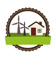 circular landscape with cottage and eolic turbines vector image vector image