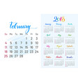 colorful planner 2018 february separately vector image