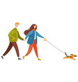 couple walk pet together in autumn dog on leash vector image vector image