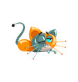 cute funny robotic cat lying on the floor vector image
