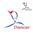 Dancer icon with abstract figure of curling lines vector image vector image