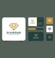 diamond logo designs mono line with business card vector image
