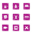 educational worker icons set grunge style vector image vector image