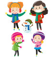 four girls in colorful winter clothes vector image