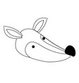 fox cartoon head in black dotted silhouette vector image vector image