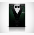 green suit and tuxedo with black bow tie vector image vector image