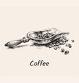 hand drawn sketch coffee scoop with pile of beans vector image