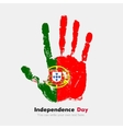 Handprint with the Flag of Portugal in grunge vector image vector image