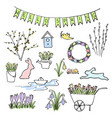 hello spring colored sketch set first flowers vector image vector image