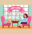 interior cat cafe with large window woman and vector image
