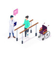 isometric doctor physiotherapist helping female vector image