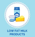 law fat milk products paper box design food and vector image