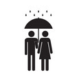 man and woman under the rain vector image vector image