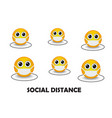 masked yellow emoticons keep social distance due t vector image