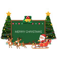 merry christmas blackboard card vector image vector image