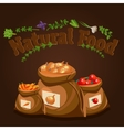 Natural food farm products banner bags with vector image