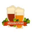 Oktoberfest celebration background with two vector image vector image