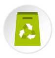 package recycling icon circle vector image vector image