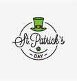 patrick day logo round linear logo patrick hat vector image vector image