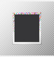 photo frame with falling confetti vector image vector image