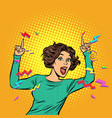 pop art woman pointing finger vector image vector image