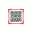 qr code with red frame label contains product vector image vector image