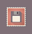 retro style floppy disk flat stamp with shadow vector image