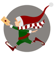 Runing Christmas elf with letter vector image vector image