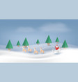 santa claus reindeer and fir-tree for christmas vector image vector image