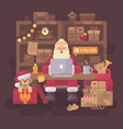 santa claus sitting at the desk in his office vector image