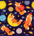 seamless pattern with cute fox in space vector image