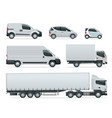 set of cargo trucks side view delivery vehicles vector image vector image