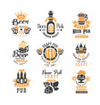 set of creative emblems for beer pub bar vector image